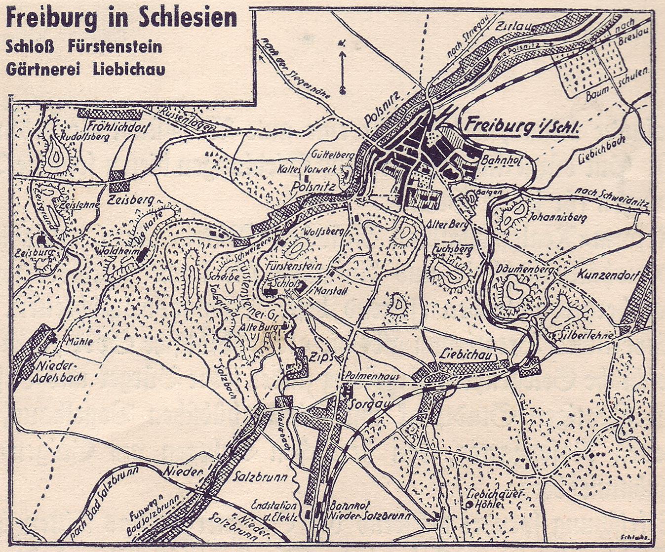 Freiburg Karte.Freiburg Schlesien Karte